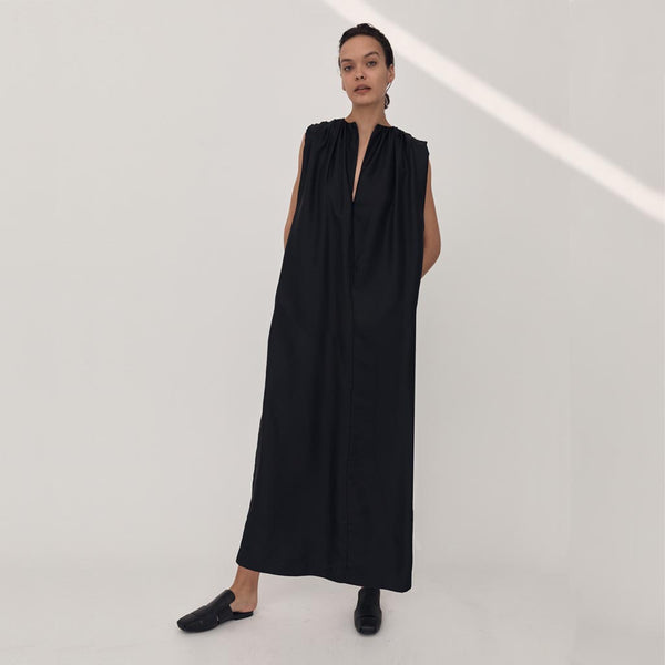 Esse Gathered Split Neck Dress