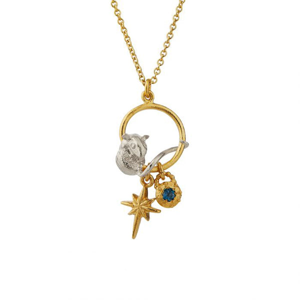 Alex Monroe Stowaway Mouse Charm Necklace with Guiding Star