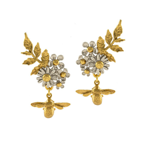 Alex Monroe Spring Posy Cluster Stud Earrings with Bee Drop