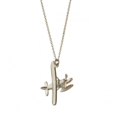 biplane necklace silver