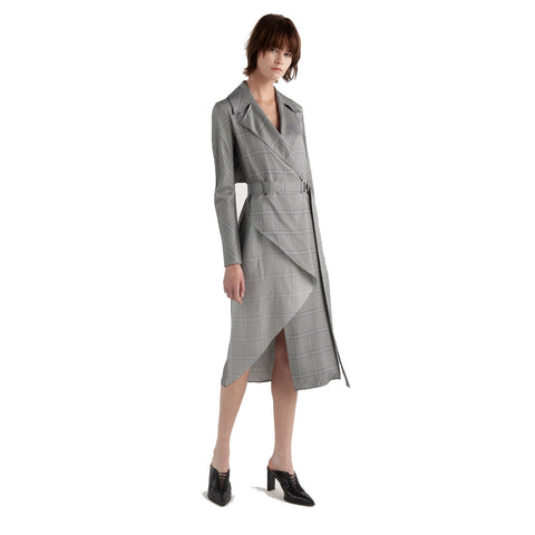 Dion Lee Check Bias Fold Trench Dress