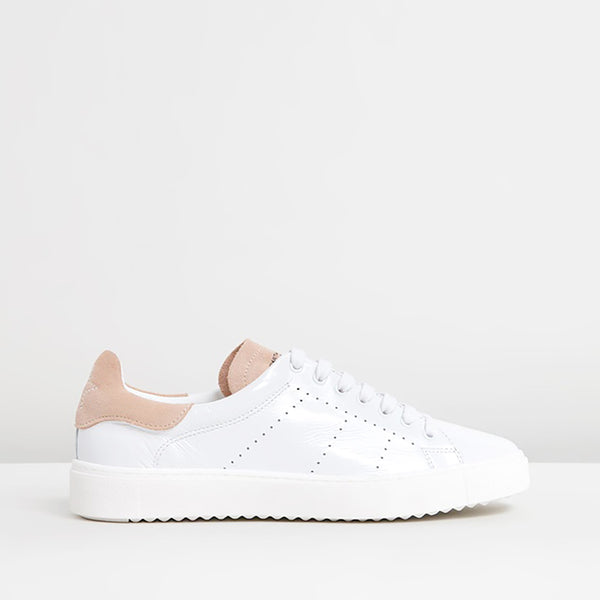 Department of Finery Tommy White Patent Trainers
