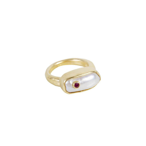 Fairley Pearl Puff Ruby Ring