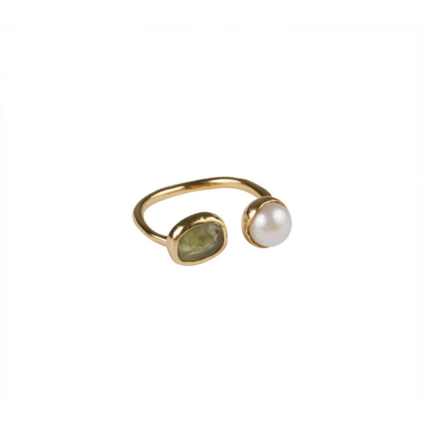 Fairley Pearl & Green Sapphire Ring