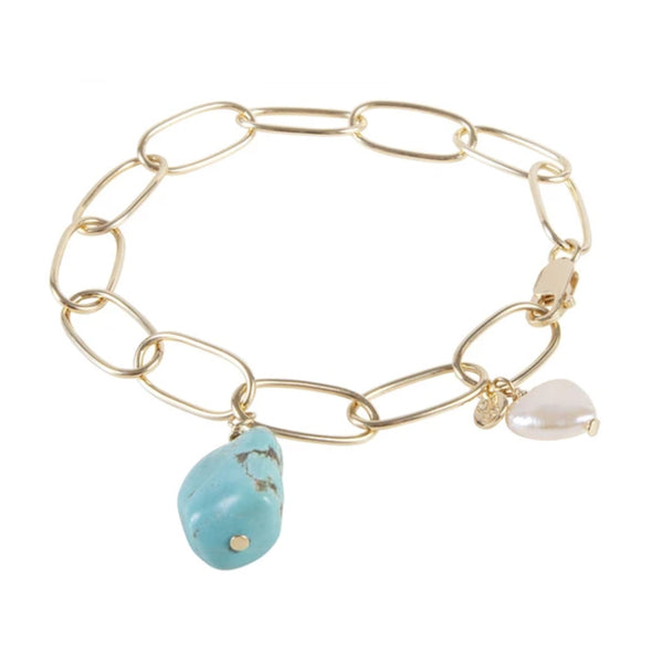Fairley Pearl & Turquoise Link Bracelet