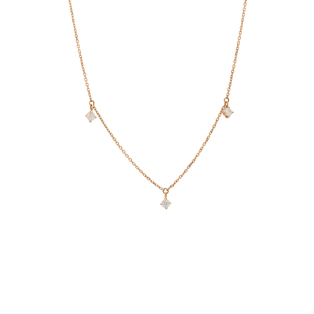Vanrycke Stardust Rose Gold Necklace with 3 Diamonds