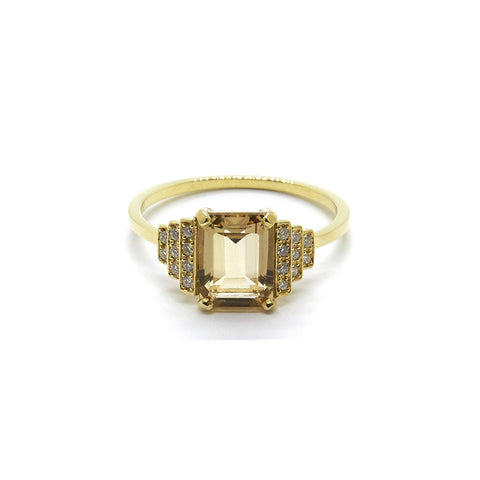 Natalie Marie Maya Ring with Champagne Quartz and White Diamonds