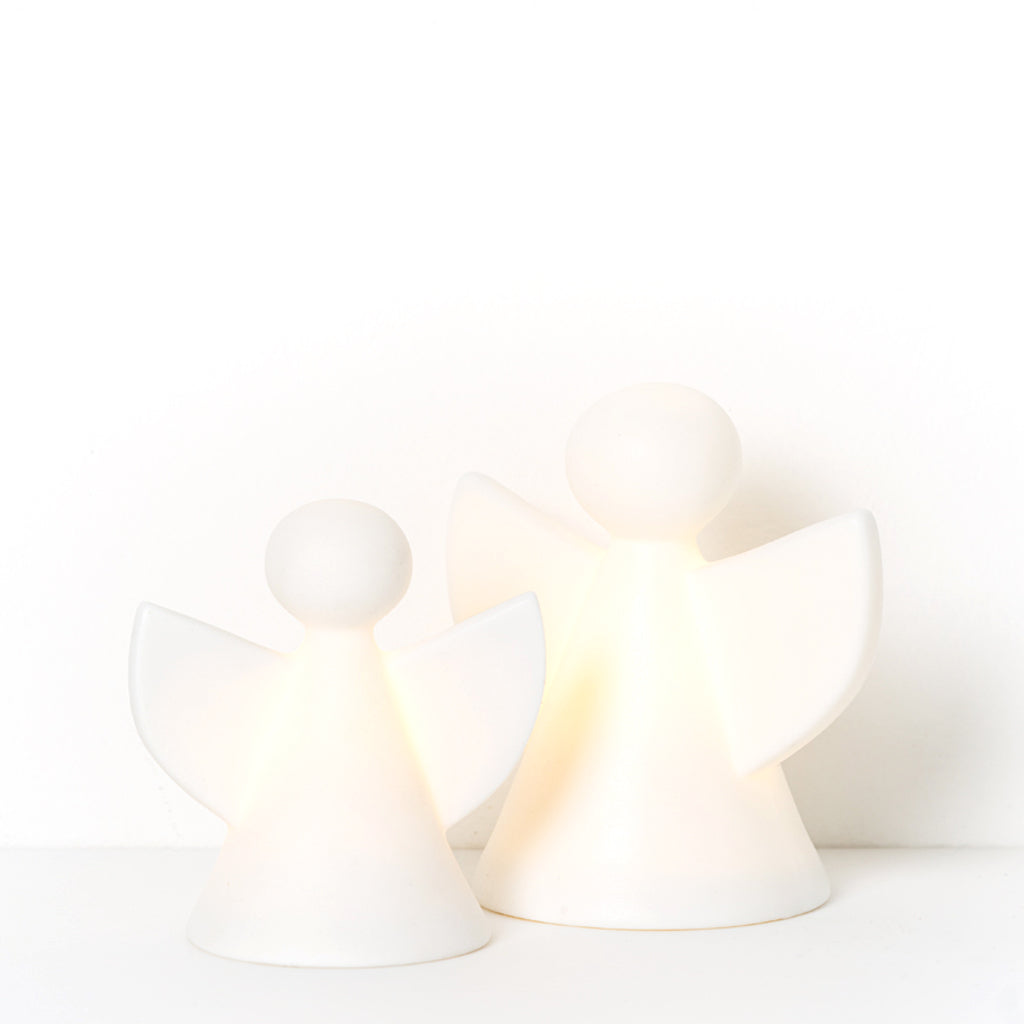 Papaya Holiday LED Porcelain Angel White Small H7cm