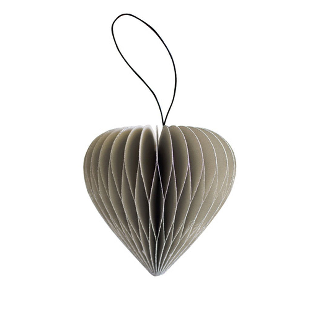 Nordic Rooms Sage Green Paper Heart Ornament w Silver Glitter Edges