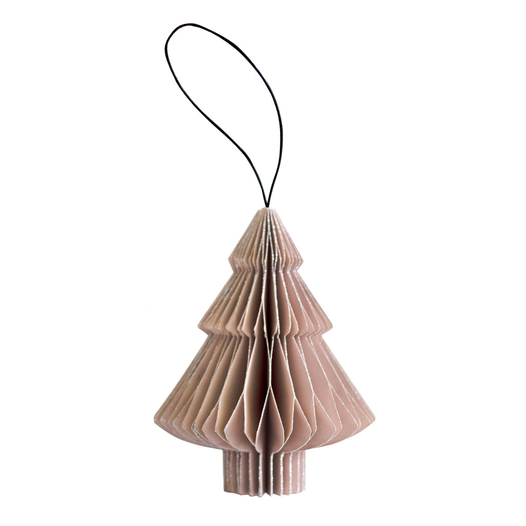 Nordic Rooms Rose Paper Tree Ornament w Silver Edges