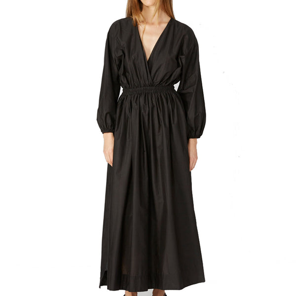 Matteau Gathered Plunge Dress Black