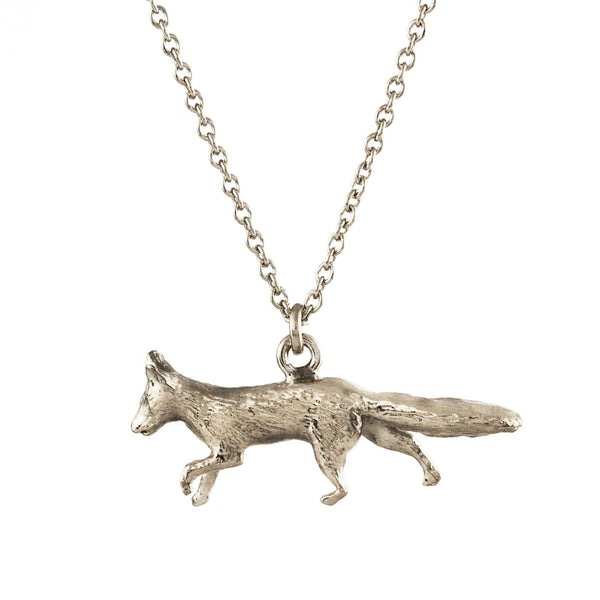prowling fox necklace silver