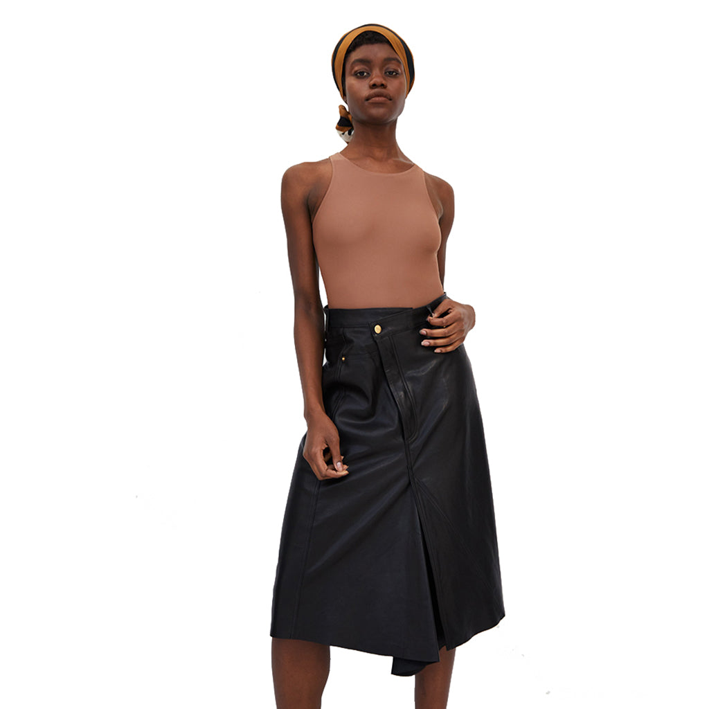 Rika Leather Jean Skirt