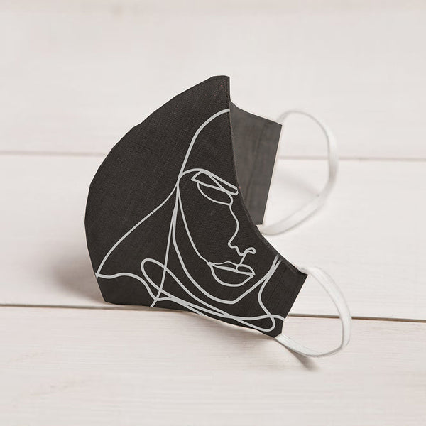 Sara Sidari Black Linen Face Mask