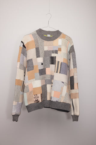 Jumper - grey and camel patchwork