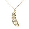 Gold Necklace with large Feather Pendant