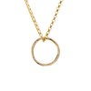 Gold Necklace with a Hammered Circle