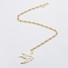 Gold Necklace with Large Sparrow Pendant