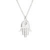 Long Silver Necklace with Hamsa Hand
