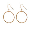 Large Round Hammered Circle Earrings in Gold
