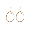 Medium Round Hammered Circle Earrings in Gold