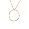 Gold Necklace with Large Textured Circle