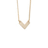 Gold Necklace with Small Chevron Pendant