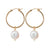 Gold Pearl Hoop Earrings