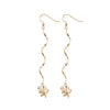 Long Spiral Pearl Earrings in Gold