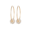 Endless Gold Hoop Earrings with a Cluster of Pearls