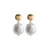 Large Round Freshwater Pearl Earrings in Gold