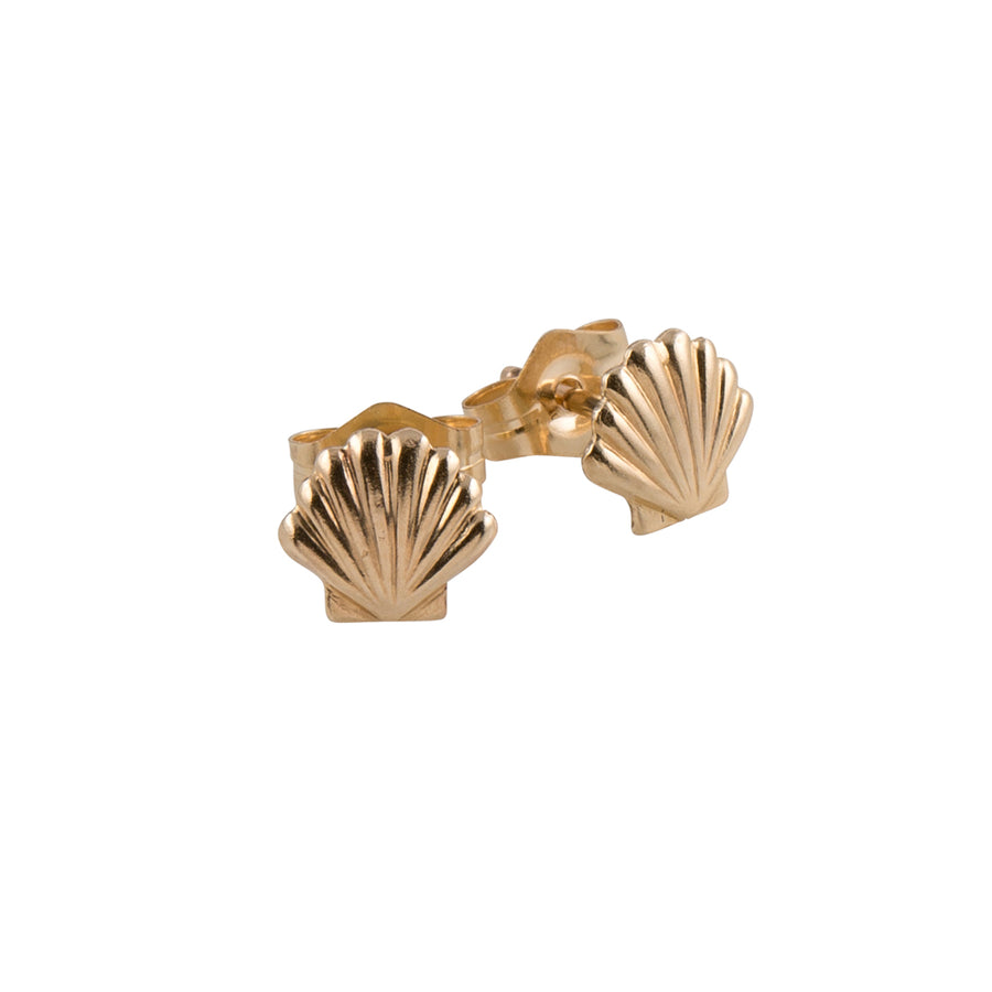 Tiny Shell Stud Earrings in Gold