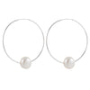 Endless Silver Hoops with Pearl