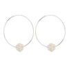 Endless Silver Hoop Earrings with a Cluster of Pearls