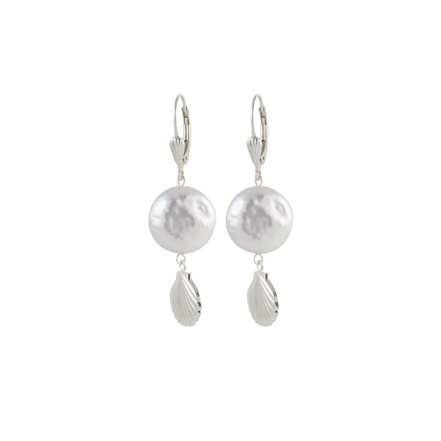 Sea shell and Pearl Earrings in Silver