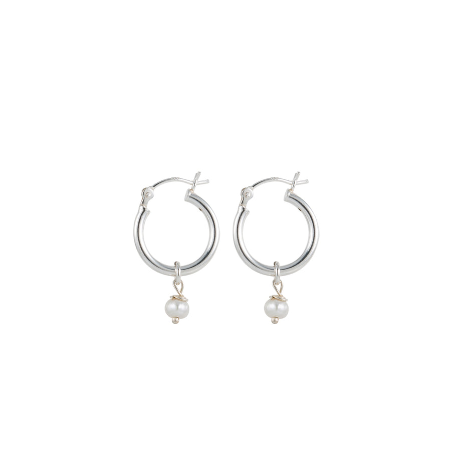 Tiny Silver Hoop Earrings with Pearl