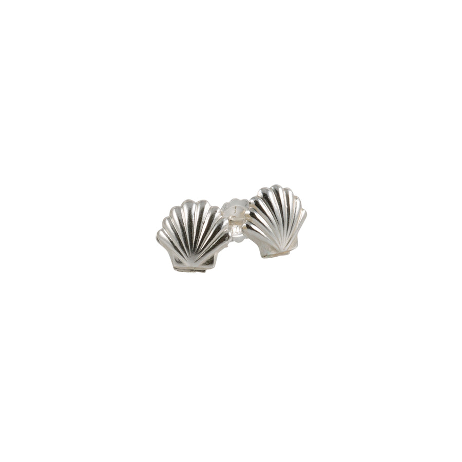 Tiny Silver Shell Stud Earrings