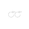 Silver Heart Hoop Stud Earrings