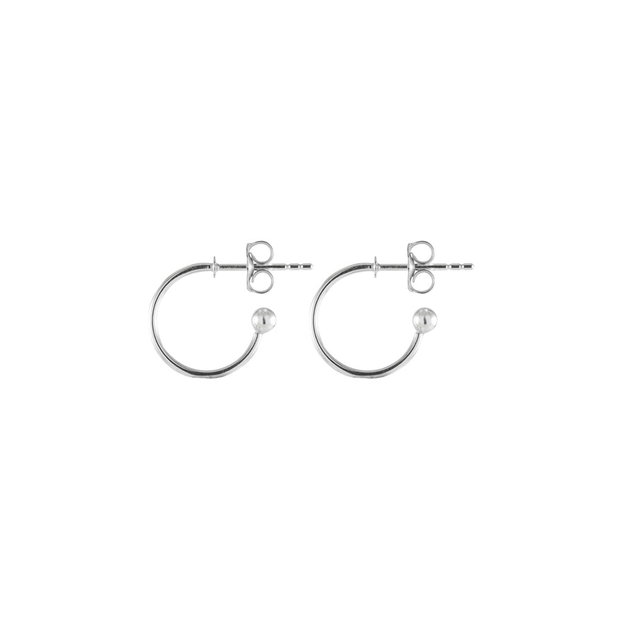 Tiny Silver Hoop Stud Earrings