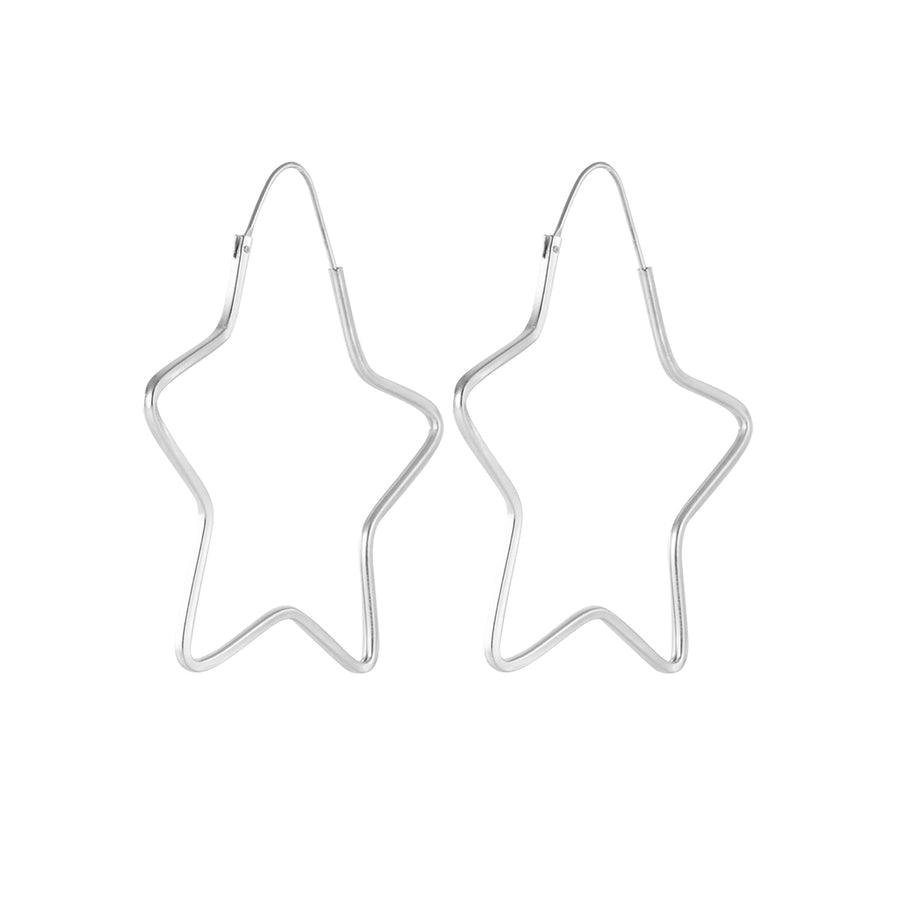 Star Wire Hoop Earrings in Silver