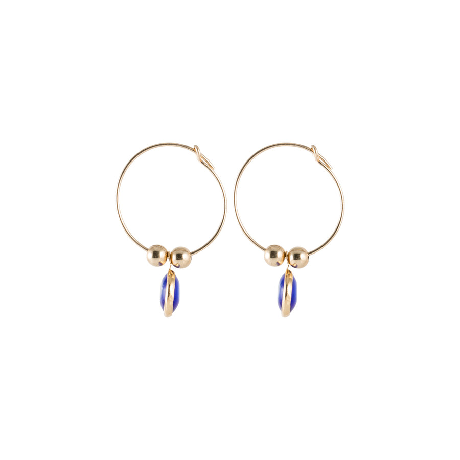 Dainty and small evil eye hoop earrings
