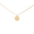 Gold Necklace with Textured Round Disc Pendant