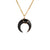 Small Black Crescent Moon Necklace in Gold
