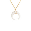 Large White Crescent Moon Necklace in Gold