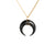 Large Black Crescent Moon Necklace in Gold