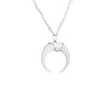 Large White Crescent Moon Necklace in Silver