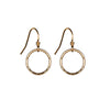 Thin Hammered Circle Earrings in Gold