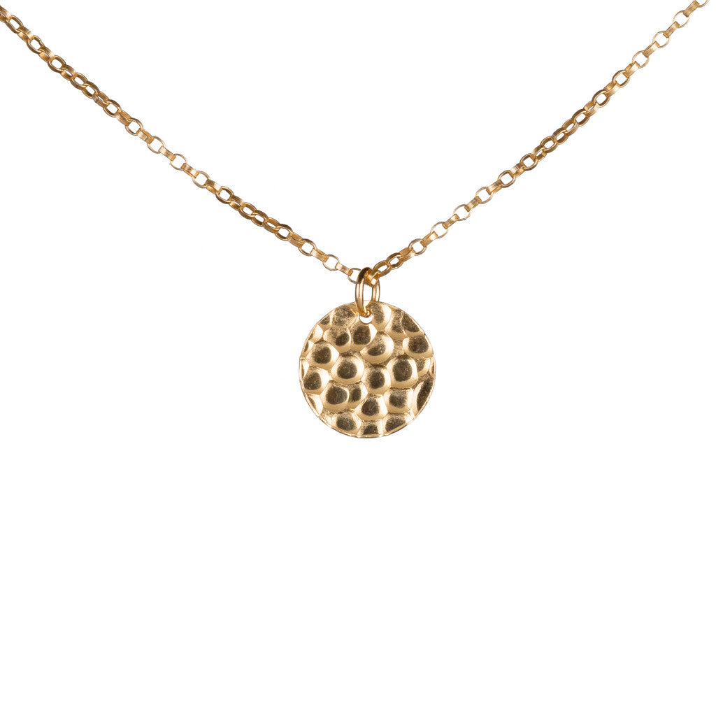 Hammered gold disc necklace bass jewellery hammered gold disc necklace aloadofball Images