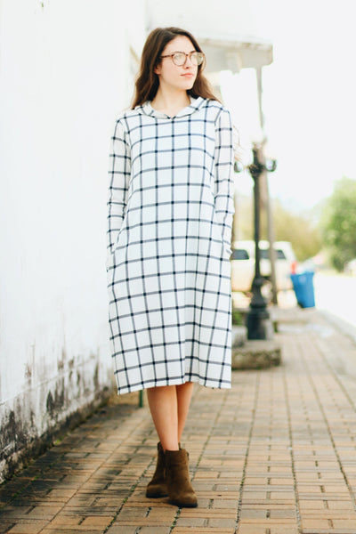 'Harper' Plaid Hoodie Dress