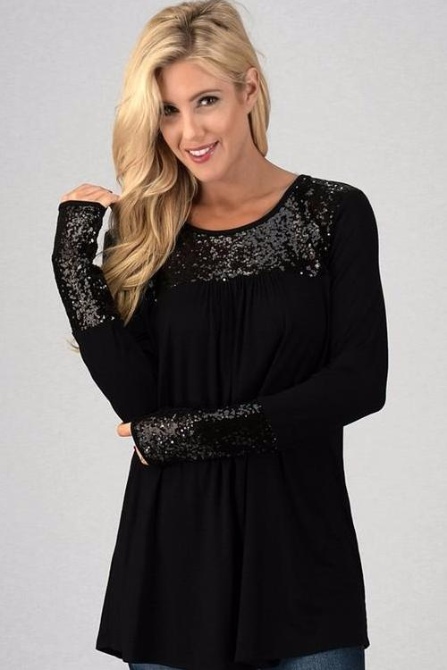 Black Long Sleeve Sequin Babydoll Top